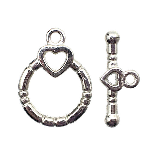 Toggle Clasp • Round Heart • 19x14mm • Silver-Plated • 44TOG-95-1914-11 | Smoky Mountain Beads