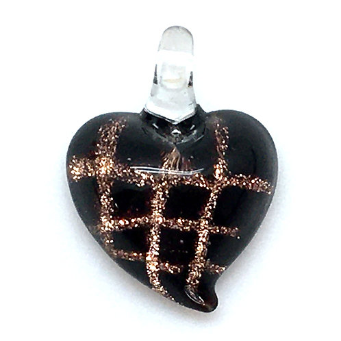Heart Pendant • Black Gold Dichroic Lampwork • PE-56LW-HEART | Smoky Mountain Beads