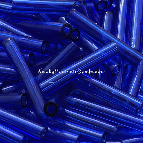 Transparent Cobalt Bugle • 12mm • 1220-BB-30060 | SmokyMountainBeads.com
