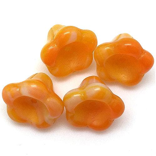 Opaque Orange/White Trumpet Flower Czech • 10x13mm • 123-1013-07924 | Smoky Mountain Beads