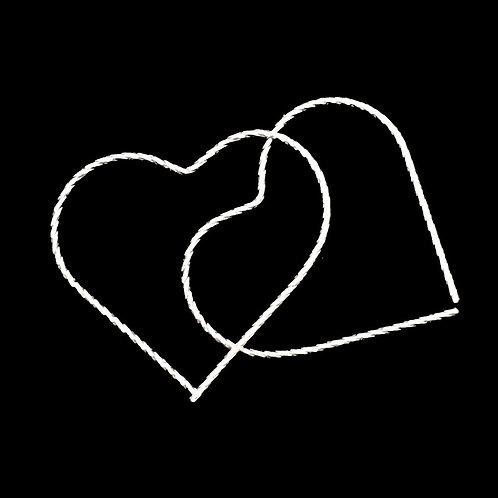 Heart Hoop Earrings • Diamond Cut •Sterling Silver • ERSS-3835-DCHRT | SmokyMountainBeads.com