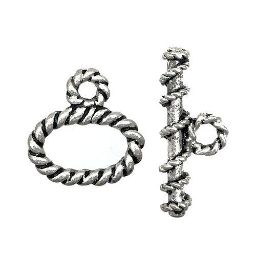Toggle Clasp • Twisted Oval Rope • 16x15mm • Silver-Plated • 44TOG-69-1615-12 | SmokyMountainBeads.com