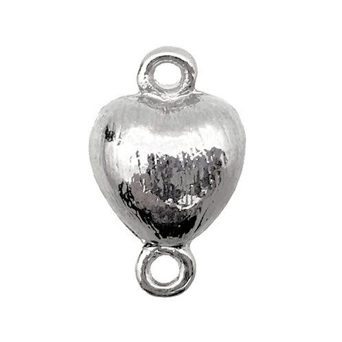 Heart Magnetic Clasp • 18x11mm • Silver-Plated • 44MAG-195-1811-11 | Smoky Mountain Beads