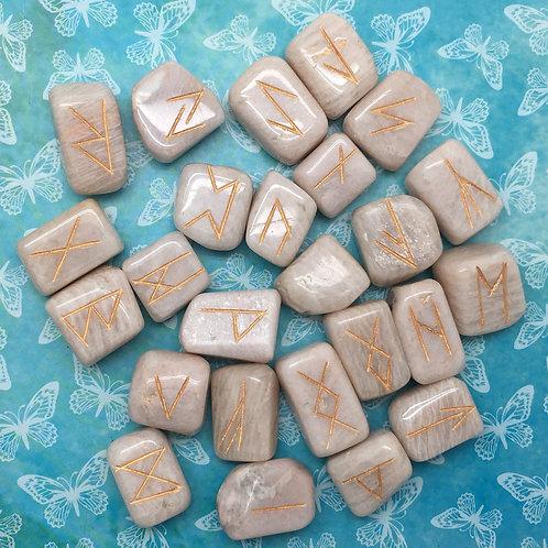 Moonstone Rune Set • 18-22mm | SmokyMountainBeads.com