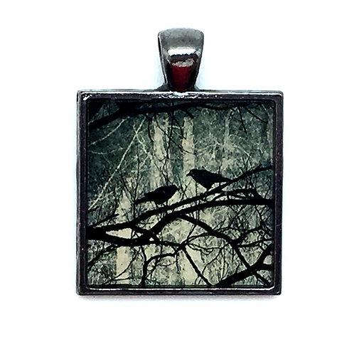Blackbirds in Tree Pendant Resin Necklace • 27x28mm • 56100SL-372813-BBTREE | SmokyMountainBeads.com