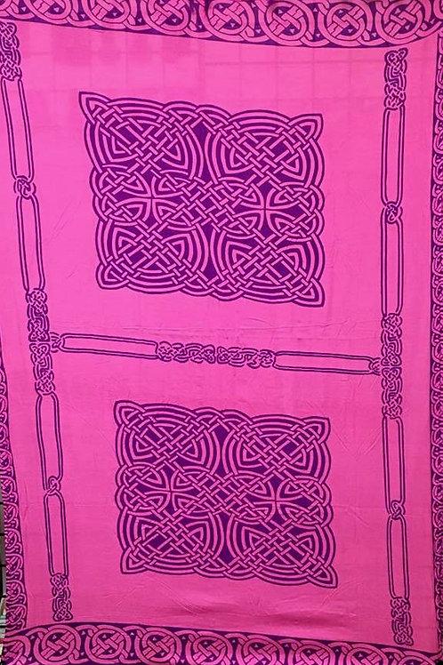 Purple on Pink Celtic Knots Sarong