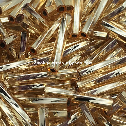 Silver-Lined Gold Twisted Bugle • 12mm • 1220-BBTW-03 | SmokyMountainBeads.com