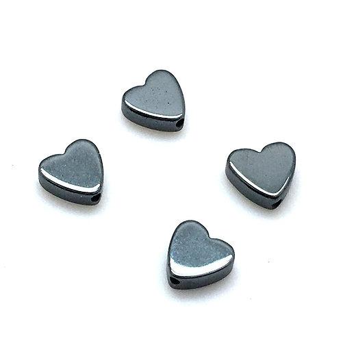 Hematite Heart Beads  • 6mm (4) • 195100HMT-06 | smokymountainbeads.com