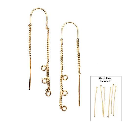 Ear Threaders • 3-Loops • 52x10mm 22G | SmokyMountainBeads.com