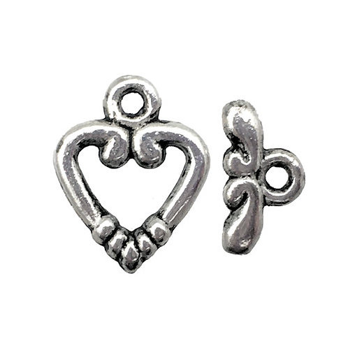 Toggle Clasp • Heart • 14x11mm • Antiqued Silver-Plated • 44TOG-95-1411-12 | SmokyMountainBeads.com