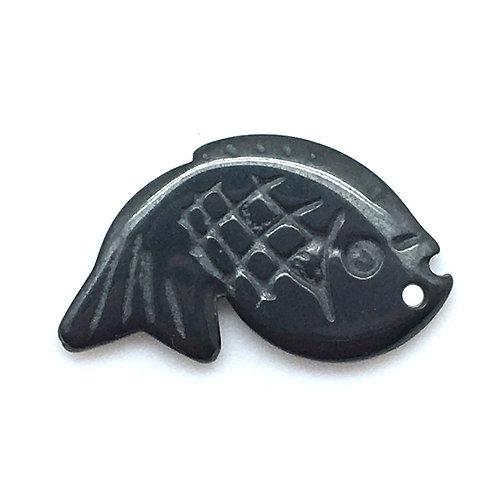 Hematite Fish • 29x17mm; 1.7mm hole (1) • 187100HMT-FISH2917   smokymountainbeads.com