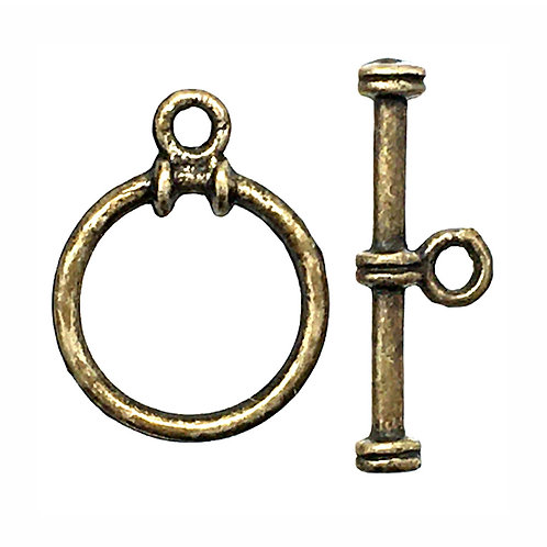Round Toggle Clasp • 16x13mm • Antiqued Brass-Plated Pewter • 44TOG-70-1613-21 | Smoky Mountain Beads