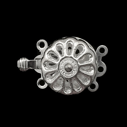 Box Clasp • 3-Strand • Round Hollow Flower • 17x14mm • Silver-Plated • 44BOX-370-1714-11 | Smoky Mountain Beads