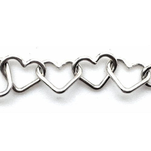 Fancy Chain • Hearts • 7x6x0.8mm • Silver-Plated • 36-F7608-11 | SmokyMountainBeads.com