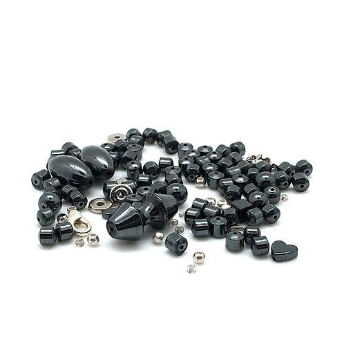 Hematite Barbell Hearts Necklace Kit NEK-20100HMT-BBHEART | smokymountainbeads