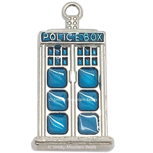 Police Box Charm • 31x16mm • 26100MTL-3116-12E | SmokyMountainBeads.com