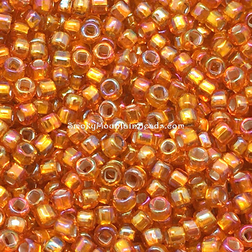 11-637 Silver-Lined Orange AB 11/0 Seed Beads | SmokyMountainBeads.com