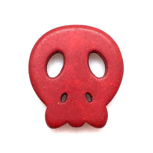 Magnesite Skull Bead • Red • 23x21x4mm (1) • SKULL23-RD | SmokyMountainBeads.com