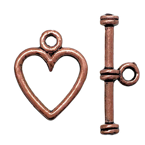 Toggle Clasp • Heart • 14x11mm • Antiqued Copper-Plated Pewter • 44TOG-95-1411-18 | Smoky Mountain Beads