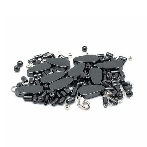 Hematite Flat Teardrop Necklace Kit NEK-20100HMT-FTD   smokymountainbeads