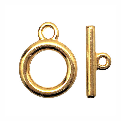 Round Toggle Clasp • 14x11mm • 18K Gold-Plated • 44TOG-70-1411-25 | Smoky Mountain Beads