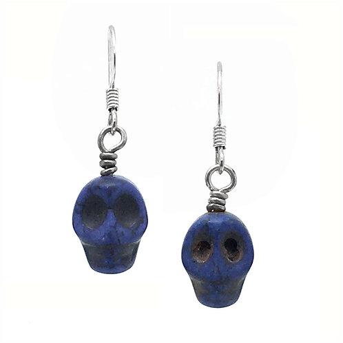 Skull Earrings • Dark Blue • Magnesite (D) • ERHW-SKULL12DB | SmokyMountainBeads.com