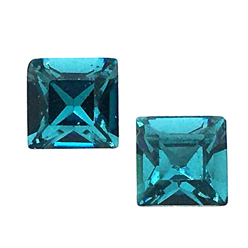 Swarovski Square Earrings • Blue Zircon • ER2483-229ST8 | SmokyMountainBeads.com