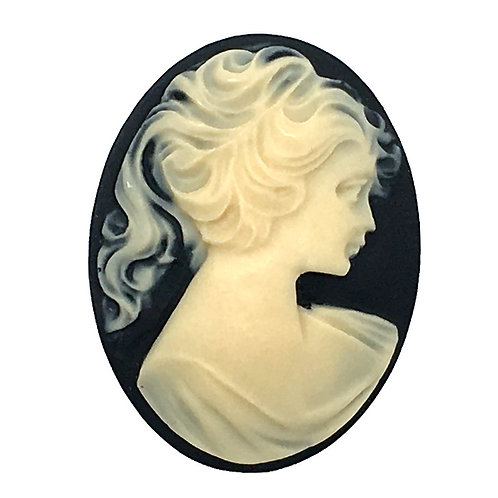 Woman with Ponytail Acrylic Cameo Cabochon • 40x30mm • 155100ACR-WOMANPONY | Smoky Mountain Beads