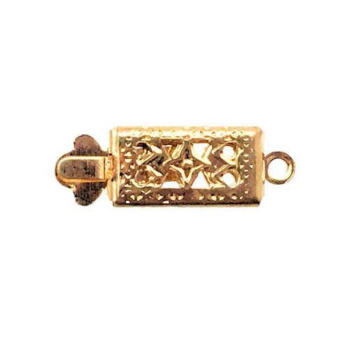 Box Clasp • 1-Strand • Rectangle Filigree • 17x6x2.7mm • Gold-Plated • 44BOX-130-1706-25 | Smoky Mountain Beads