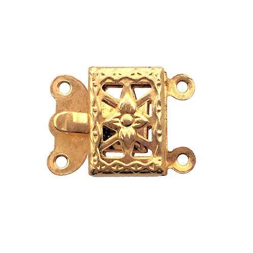 Box Clasp • 2-Strand • Rectangle Filigree • 15x11mm • Gold-Plated • 44BOX-230-1511-25 | Smoky Mountain Beads