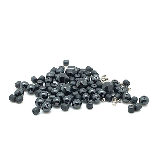 Hematite Faceted Round Necklace Kit NEK-20100HMT-FRMATTE | smokymountainbeads