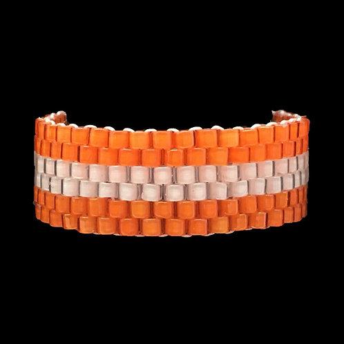 Orange White Stripe Ring • Hand-Stitched • Size 9.5 • RG01-CS-STRIPE2-ORWH | SmokyMountainBeads.com