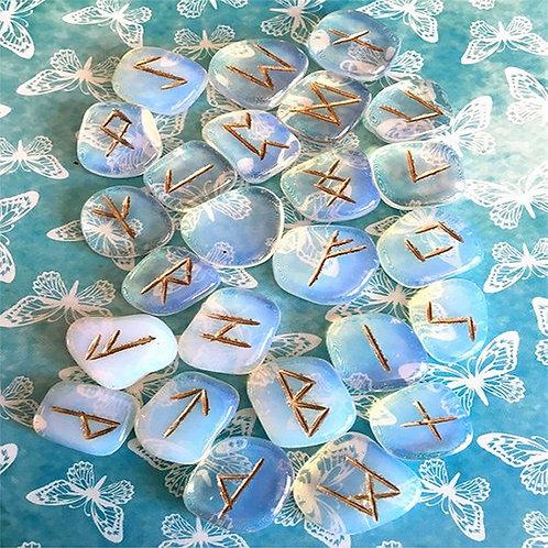 Opalite Rune Set • Gift Boxed with Chart & Bag
