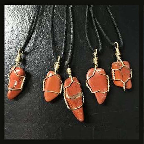 Red Jasper Wire-Wrapped Necklace