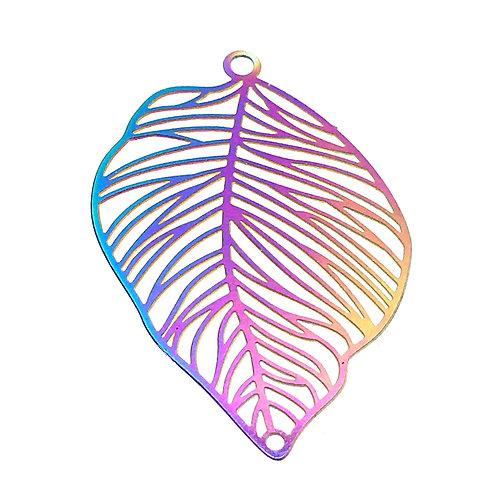 Leaf Filigree • Stainless Steel • Rainbow • 37x25mm • 4-37-3725-48 | SmokyMountainBeads.com
