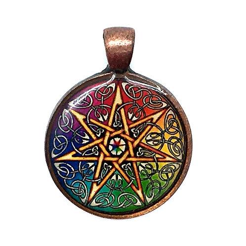 7-Point Chakra Star Pendant Resin Necklace • 26x28mm • 56100SL-3628A18-7PTSTAR | SmokyMountainBeads.com