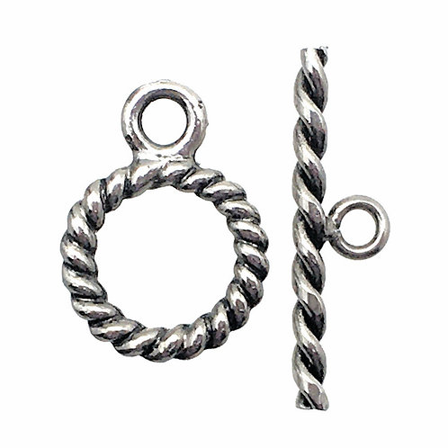Toggle Clasp • Twisted Round • 18x13mm • Silver-Plated • 44TOG-7047-1813-12   Smoky Mountain Beads