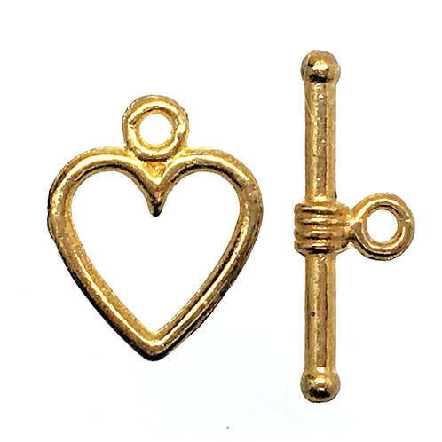 Heart Toggle Clasp • 14x11x1.3mm • Gold-Plated • 44TOG-95-1411-25   Smoky Mountain Beads