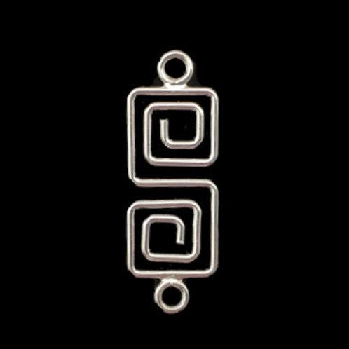 Swirled Squares Chandelier • 30x11mm • Silver-Plated • 41-833011-11   SmokyMountainBeads.com