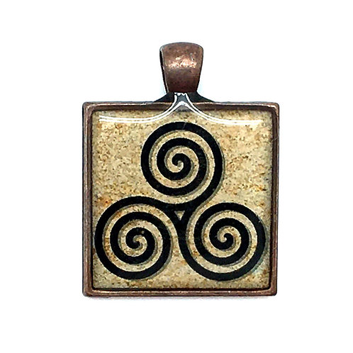 Triskelion on Tan Pendant Resin Necklace • 27x28mm • 56100SL-3728A18-TRIS | SmokyMountainBeads.com