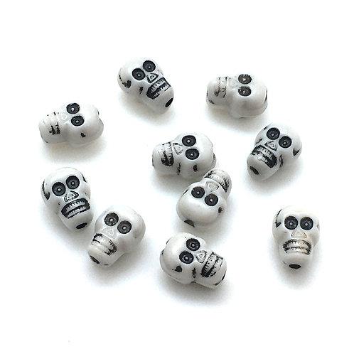 Acrylic Skull Bead • 10x7mm • White (10) • 196100ACR-1007 | Smoky Mountain Beads