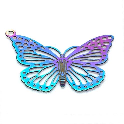 Butterfly Filigree • Stainless Steel • Rainbow • 19x26mm • 4-87-1926-48 | SmokyMountainBeads.com