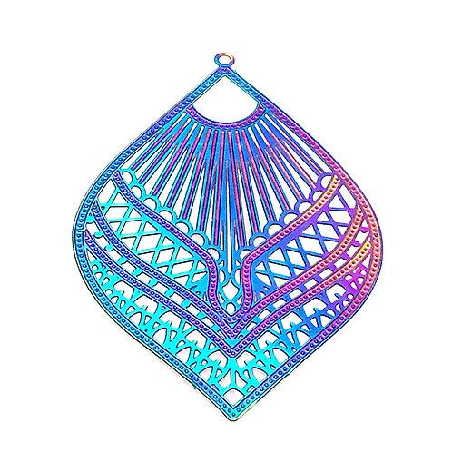 Leaf Filigree • Stainless Steel • Rainbow • 56x37mm • 4-37-5637-48 | SmokyMountainBeads.com