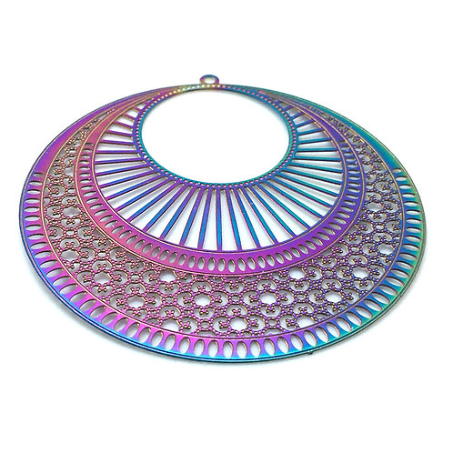 Round Filigree • Stainless Steel • Rainbow • 49x47mm | SmokyMountainBeads.com