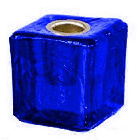 Glass Mini Cube Candle Holder • Cobalt   SmokyMountainBeads.com