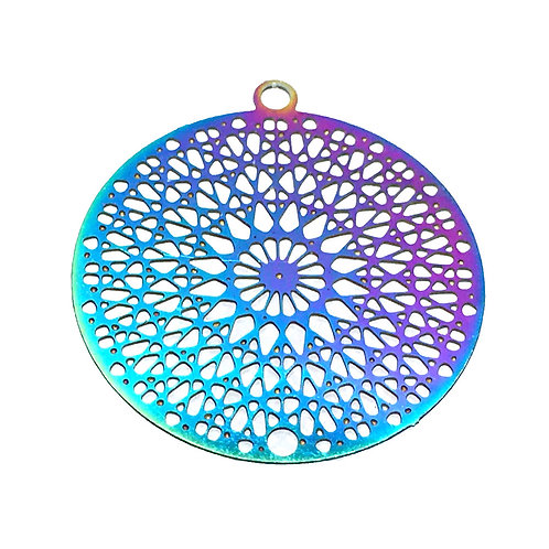 Kaleidoscope Filigree • Stainless Steel • Rainbow • 22x20mm • 4-70-2220-48 | SmokyMountainBeads.com
