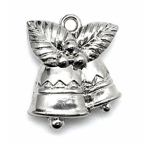 Bell Acrylic Charm • Silver-Plated • 25x21x8mm • 26100ACR-BELLS-11 | SmokyMountainBeads.com