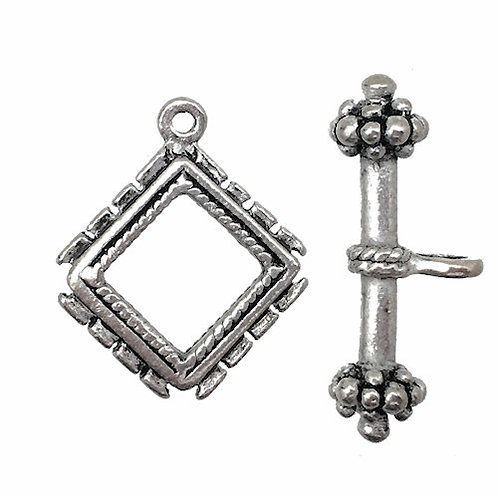 Toggle Clasp • Rope Grapes Diamond • 22x19mm • Antiqued Silver-Plated-Plated • 44TOG-24-2219-12 | SmokyMountainBeads.com