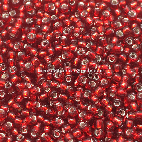 11-11A Silver-Lined Dark Red 11/0 Seed Beads | SmokyMountainBeads.com