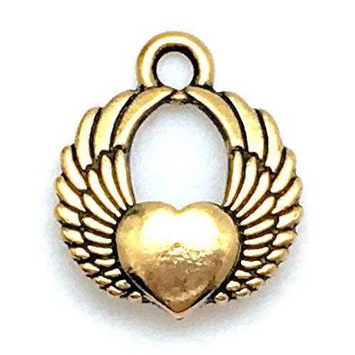 Winged Heart Charm • 18x15mm • 94-2305-26 | SmokyMountainBeads.com